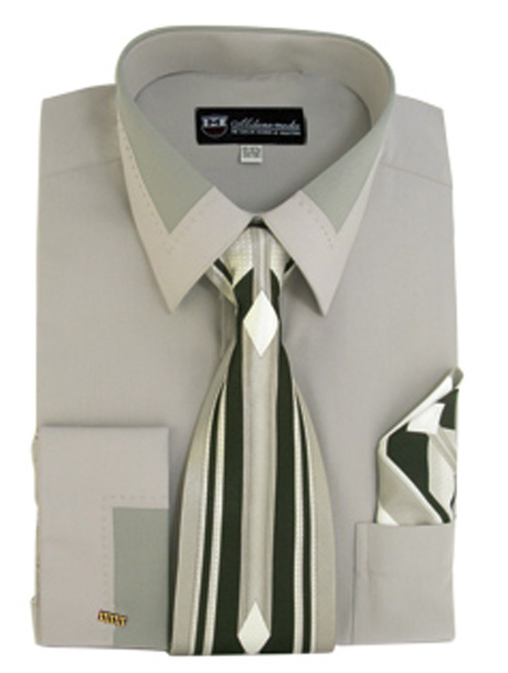 SG34-GR ( Matching Tie, Cuff Link And Hanky Included )