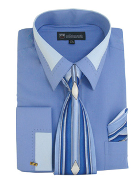 SG34-BLU ( Matching Tie, Cuff Link And Hanky Included )