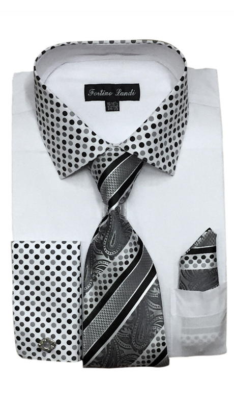 FL630-WH ( Matching Tie, Cuff Link And Hanky Included )