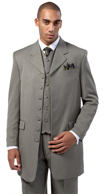 7903V-B  ( 3pc 7 Button Suit with Lapel Vest, Milano Mens Church Suit )