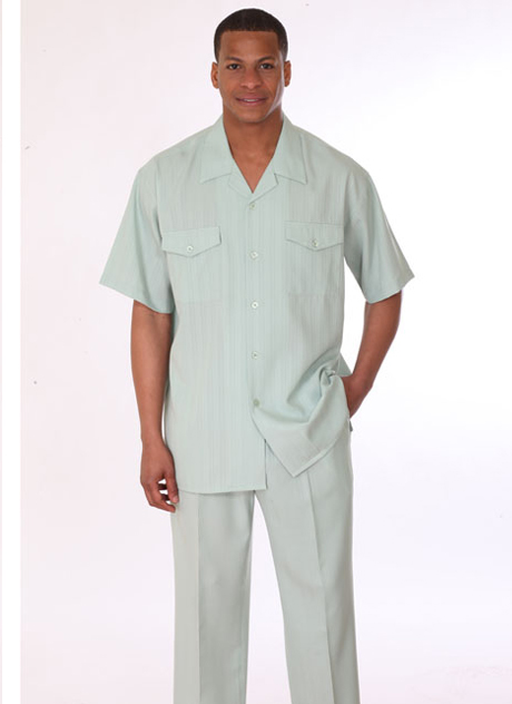 Mens Walking Suit 3558-GN ( 2pc, Short Sleeve, Double Pocket )