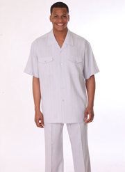 Mens Walking Suit 3558-GR ( 2pc, Short Sleeve, Double Pocket )