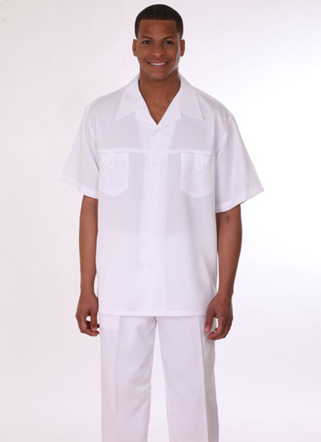 Mens Walking Suit 2950-WH ( 2pc, Short Sleeve, Double Pocket )