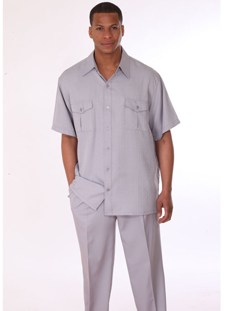 Mens Walking Suit 2949-SIL ( 2pc, Short Sleeve, Double Pocket )