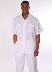 Mens Walking Suit 2949-WH ( 2pc, Short Sleeve, Double Pocket )