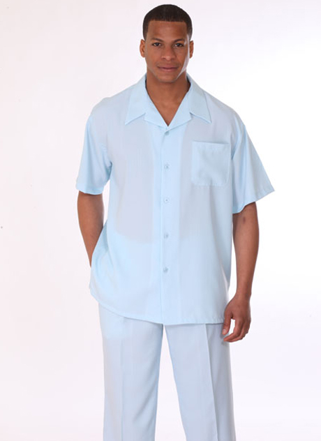 Mens Walking Suit 2948-SB ( 2pc Short Sleeve, Breast Pocket Shirt And Pant )