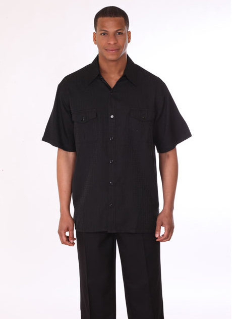 Mens Walking Suit 2949-BLK ( 2pc, Short Sleeve, Double Pocket )