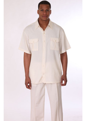 Mens Walking Suit 2949-CR ( 2pc, Short Sleeve, Double Pocket )