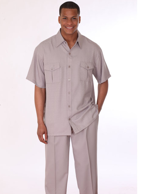 Mens Walking Suit 2949-K ( 2pc, Short Sleeve, Double Pocket )
