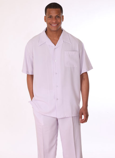 Mens Walking Suit 2948-LA ( 2pc Short Sleeve, Breast Pocket Shirt And Pant )