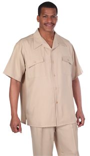 Mens Walking Suit 2943-KH ( 2pc Solid Short Sleeve Shirt And Pant )