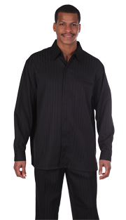 Mens Walking Suit 2752-BLK ( 2pc Shadow Stripe, Breast Pocket, Long Sleeve Shirt And Pant )