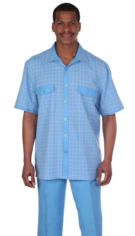 Mens Walking Suit 2953-BL ( 2pc, Short Sleeve, Double Pocket, Check Pattern Shirt And Solid Pant )