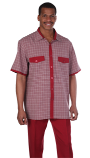 Mens Walking Suit 2953-BUR ( 2pc, Short Sleeve, Double Pocket, Check Pattern Shirt And Solid Pant )