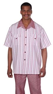 Mens Walking Suit 2956-BU ( 2pc Front Stripe Shirt, Tonal Pattern Pant )