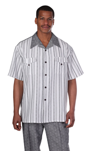 Mens Walking Suit 2956-BLK ( 2pc Front Stripe Shirt, Tonal Pattern Pant )