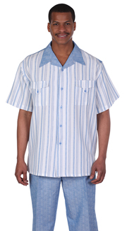 Mens Walking Suit 2956-BL ( 2pc Front Stripe Shirt, Tonal Pattern Pant )