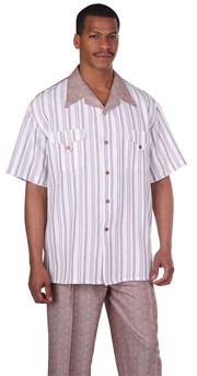 Mens Walking Suit 2956-BR ( 2pc Front Stripe Shirt, Tonal Pattern Pant )