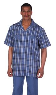 Mens Walking Suit 2952-BL ( 2pc, Plaid Shirt, Solid Pant )