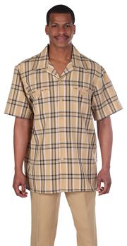 Mens Walking Suit 2952-GO ( 2pc, Plaid Shirt, Solid Pant )