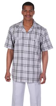 Mens Walking Suit 2952-GR ( 2pc, Plaid Shirt, Solid Pant )
