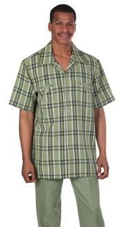 Mens Walking Suit 2952-OL ( 2pc, Plaid Shirt, Solid Pant )