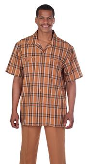 Mens Walking Suit 2952-RU ( 2pc, Plaid Shirt, Solid Pant )
