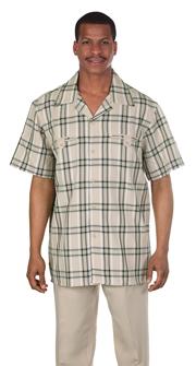 Mens Walking Suit 2952-TA ( 2pc, Plaid Shirt, Solid Pant )