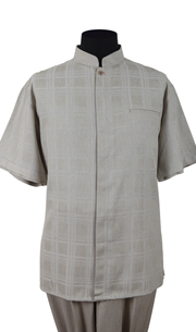 Mens Walking Suit 2958-TA ( 2pc Windowpane Shirt, Mandarin Collar And Solid Pant )