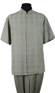 Mens Walking Suit 2958-OL ( 2pc Windowpane Shirt, Mandarin Collar And Solid Pant )