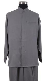 Mens Walking Suit 2826-GR ( 2pc Solid Shirt, Mandarin Collar, Solid Pant )