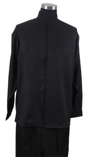 Mens Walking Suit 2826-BLK ( 2pc Solid Shirt, Mandarin Collar, Solid Pant )