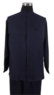 Mens Walking Suit 2826-NA ( 2pc Solid Shirt, Mandarin Collar, Solid Pant )