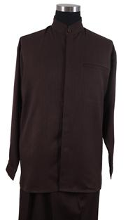 Mens Walking Suit 2826-BR ( 2pc Solid Shirt, Mandarin Collar, Solid Pant )