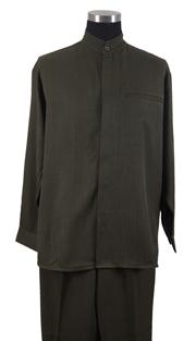 Mens Walking Suit 2826-OL ( 2pc Solid Shirt, Mandarin Collar, Solid Pant )