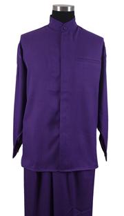 Mens Walking Suit 2826-PUR ( 2pc Solid Shirt, Mandarin Collar, Solid Pant )