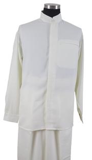 Mens Walking Suit 2826-CR ( 2pc Solid Shirt, Mandarin Collar, Solid Pant )