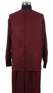 Mens Walking Suit 2826-BUR ( 2pc Solid Shirt, Mandarin Collar, Solid Pant )