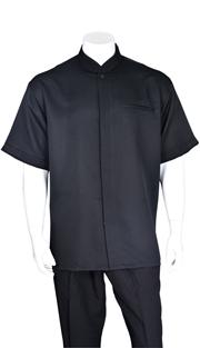 Mens Walking Suit 2959-BLK ( 2pc, Solid Shirt, Mandarin Collar, Solid Pant )