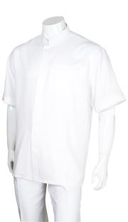 Mens Walking Suit 2959-WH ( 2pc, Solid Shirt, Mandarin Collar, Solid Pant )