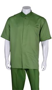 Mens Walking Suit 2959-GRE ( 2pc, Solid Shirt, Mandarin Collar, Solid Pant )