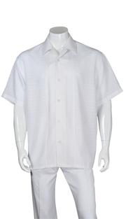 Mens Walking Suit 2960-WH ( 2pc, Solid Pant, Stripe )
