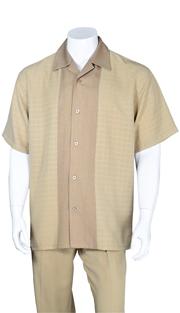 Mens Walking Suit 2960-KH ( 2pc, Solid Pant, Stripe )