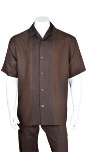 Mens Walking Suit 2960-BR ( 2pc, Solid Pant, Stripe )