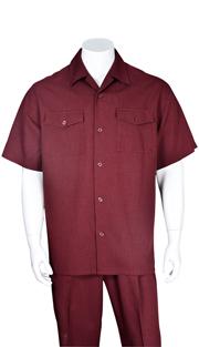 Mens Walking Suit 2961-BUR ( 2pc, Solid Pant, Solid )