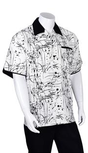 Mens Walking Suit 2962-BLK ( 2pc, Solid Pant, Print )