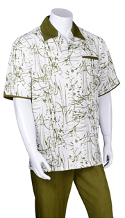 Mens Walking Suit 2962-OL ( 2pc, Solid Pant, Print )