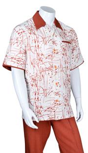 Mens Walking Suit 2962-RU ( 2pc, Solid Pant, Print )