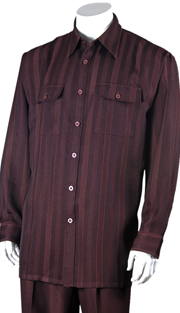 Mens Walking Suit 2761-BUR ( 2pc, Solid Pant, Print )