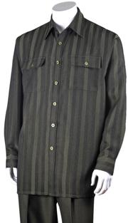 Mens Walking Suit 2761-OL ( 2pc, Solid Pant, Print )
